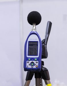 sound testing meter on stand